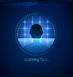 Isolated abstract face scanning technology face vector