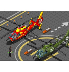 Isometric Emergency and Military Helicopters in vector image