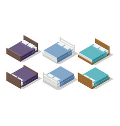 isometric set furniture double bed vector image