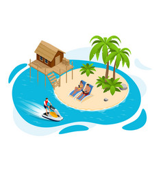 isometric summer vacation concept summer time vector image
