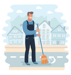 Janitor sweeping street vector