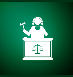 judge with gavel on table icon on green background vector image