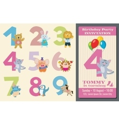 Kids birthday anniversary numbers with cartoon vector