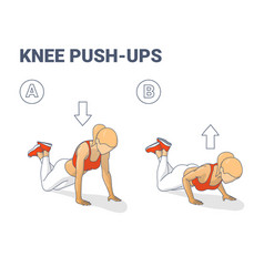 Knee push-ups female home workout exercise vector