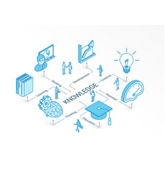 knowledge isometric concept connected line 3d vector image