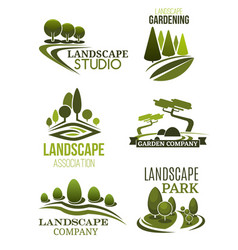 Landscape design icons with green trees vector