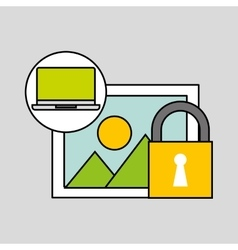 laptop picture security padlock concept vector image