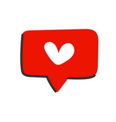 Like icon in flat cartoon style heart icon vector