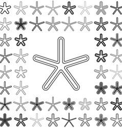 Line star icon design set vector