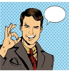 Man smile and shows OK hand sign with speech vector