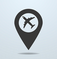 Map pointer with a plane symbol vector image