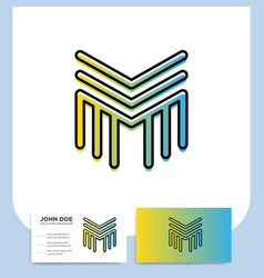 media letter m logo in a modern line style with vector image