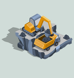 Mining excavator loads coal in a dump truck vector