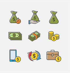 money and banking icons pack vector image