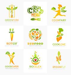 natural food logo templates conceptual icon vector image