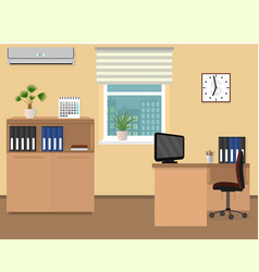 Office room interior workspace design with clock vector