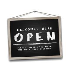 Open sign on black chalkboard in wooden frame vector