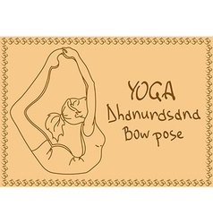 Outline girl in Bow yoga pose vector