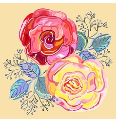 Peach pink red roses small bouquet vector image