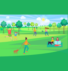 people spending leisure time in park vector image