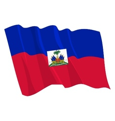 Political waving flag of haiti vector