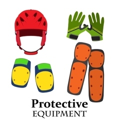 Protection equipment for bike gear for bicycle in vector image