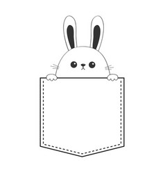 Rabbit happy face head icon sitting in the pocket vector