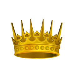 realistic icon of shiny golden crown headdress of vector image