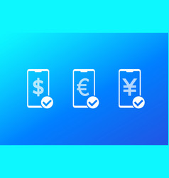 Received payments money icons vector