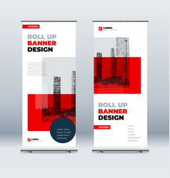 red business roll up banner abstract roll up vector image