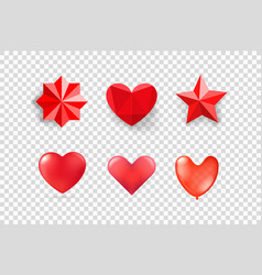 Red hearts and stars isolated on transparent vector
