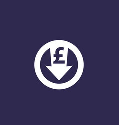 Reduce costs icon with pound vector