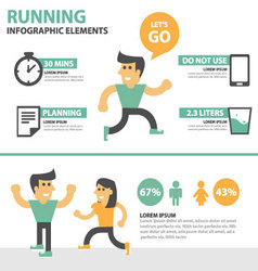 Running activity people infographic elements set vector image