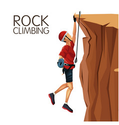 scene man hanging on the cliff anchored to the top vector image vector image