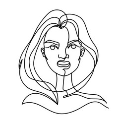 screaming woman one line art portrait angry vector image