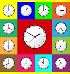 Set clock icon flat design vector