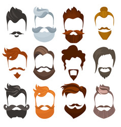 set men cartoon hairstyles with beards and vector image
