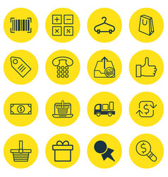 Set of 16 commerce icons includes e-trade vector