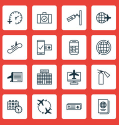 Set of 16 traveling icons includes timetable vector