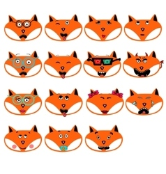 set of fun emotions foxes smileys isolated on vector image