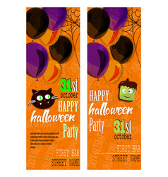 set of happy halloween invitation cards with vector image