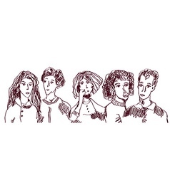 Set of people hand drawn sketch - old and young vector image