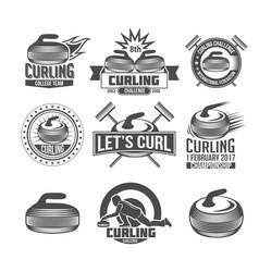 Set vintage curling labels and design elements vector