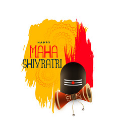 Shivratri festival greeting with shivling and vector