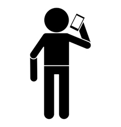Silhouette avatar using smarphone talking vector