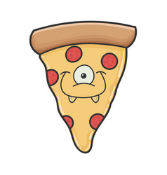 Smiling monster slice pizza cartoon vector
