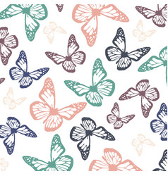 soft colored flying butterflies for spring season vector image