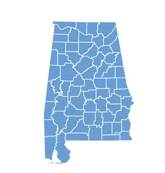 State Map of Alabama by counties vector