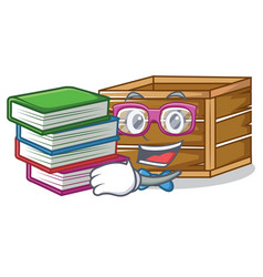 Student with book crate mascot cartoon style vector
