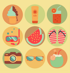 summer beach holiday icons set design vector image